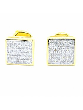 Mens Diamond Fashion Earrings in Gold-Tone Silver Squares 7.5mm Wide Screw Back 1/5cttw(0.2 cttw)