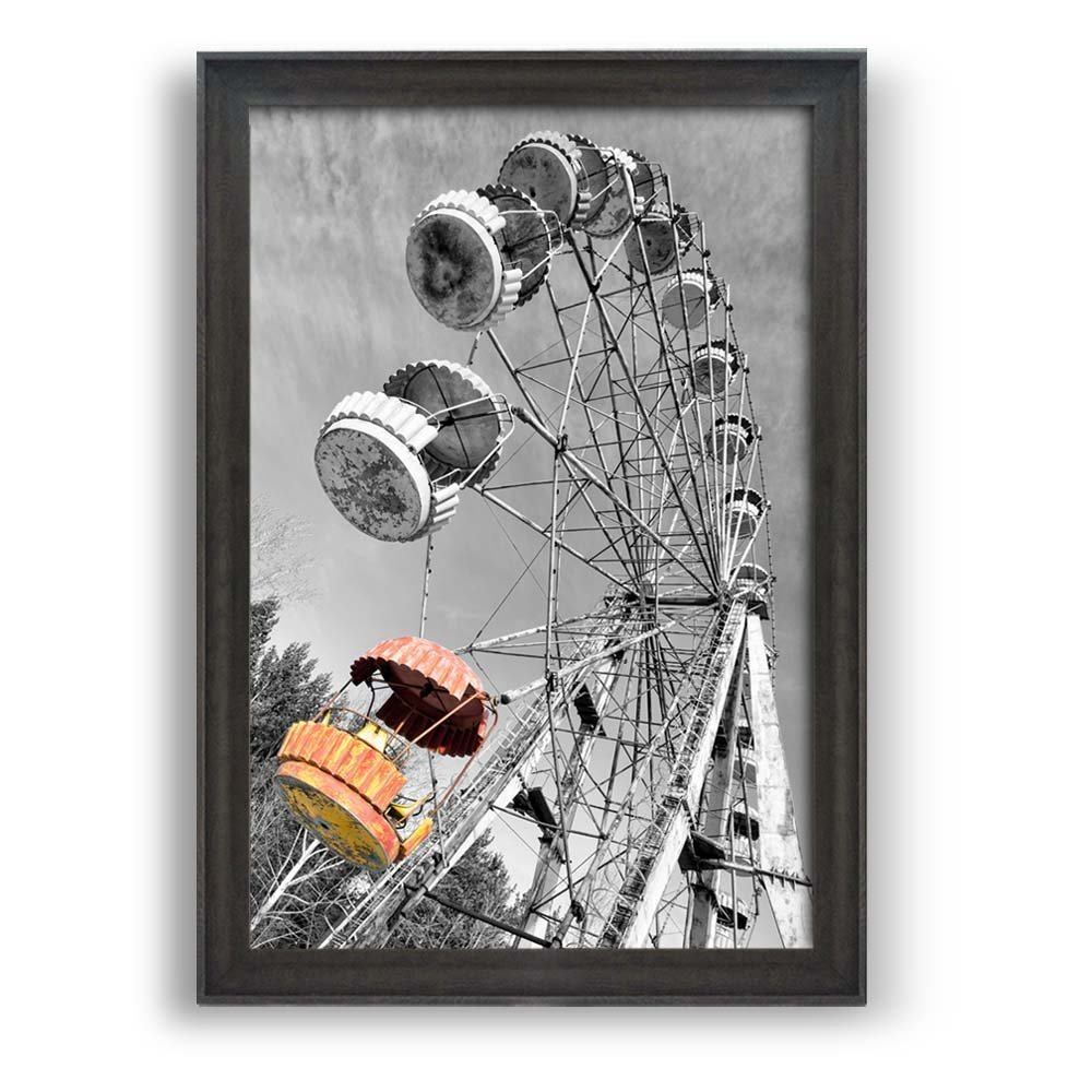 """wall26 - Framed Wall Art Prints - Ferris Wheel viewed from Ground - Modern Home Decoration. Ready to Hang - Dark Coffee Brown Frame - 16""""x24"""""""