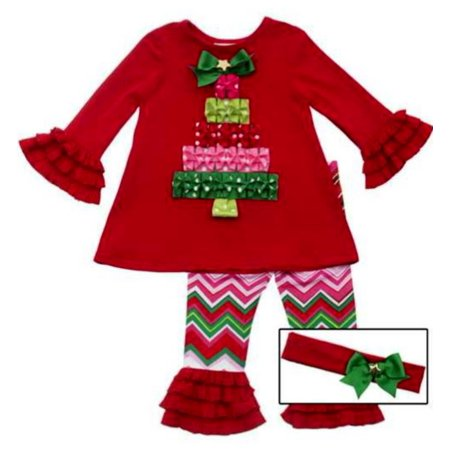 Girls Christmas Outfit - Christmas Present Tree Chevron Pant Set 6