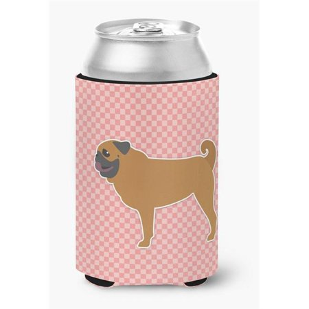 Pug Checkerboard Pink Can or Bottle Hugger - Pink Checkered