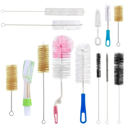 Yoassi 13pcs Food Grade Multipurpose Cleaning Brush Set, Includes Straw Brush|Nipple Cleaner|Bottle Brush|Blind Duster|Pipe Cleaner, Small,Long,Soft,Stiff Kit for Baby Bottles,Tubes,Jars,Bird Feeder