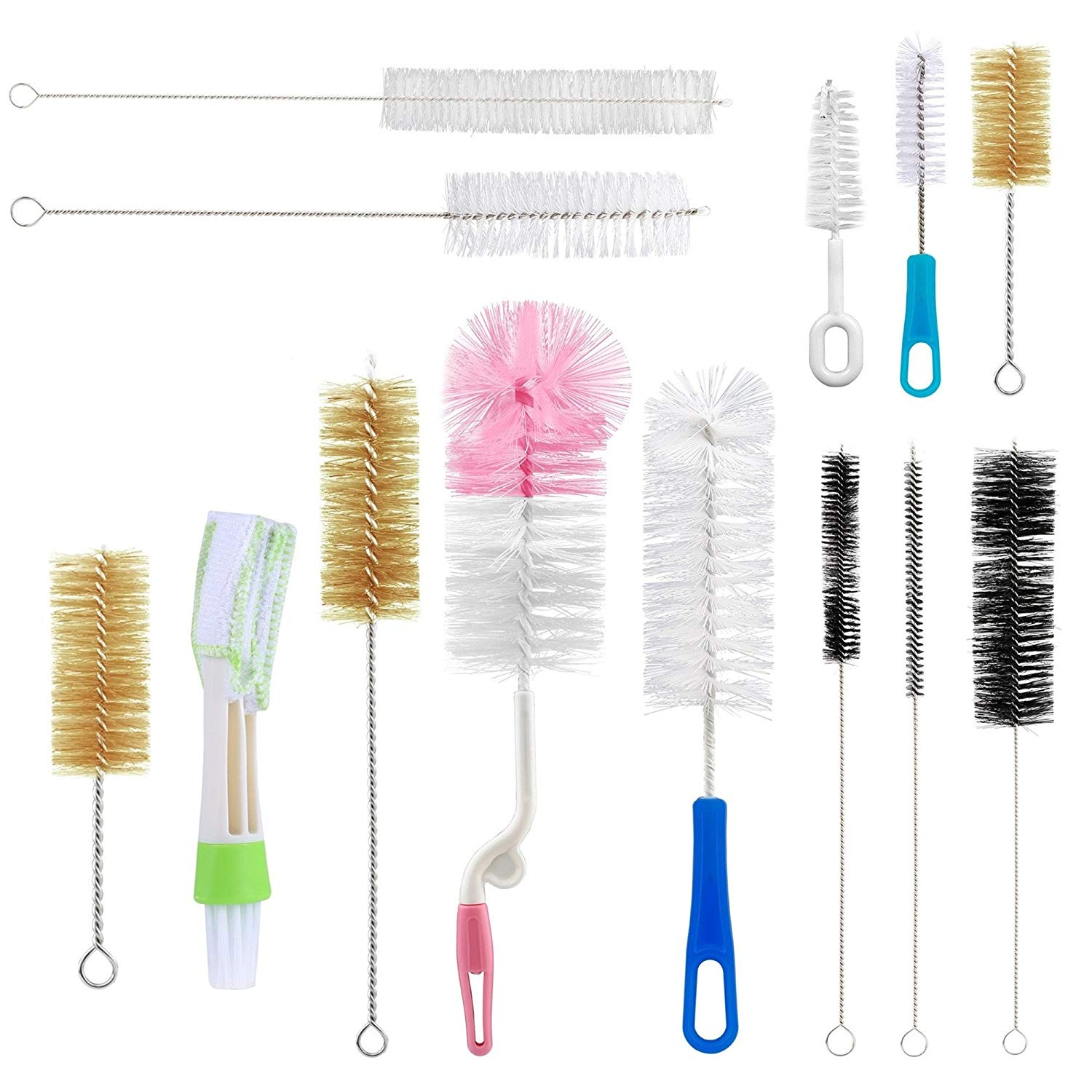 Bottle Brush Sets - Yoassi 13pcs Cleaning Bottle Bristle Brush Cleaner Washer - Long, Soft, Stiff, Small Kits for Baby Bottle, Tubes, Jars