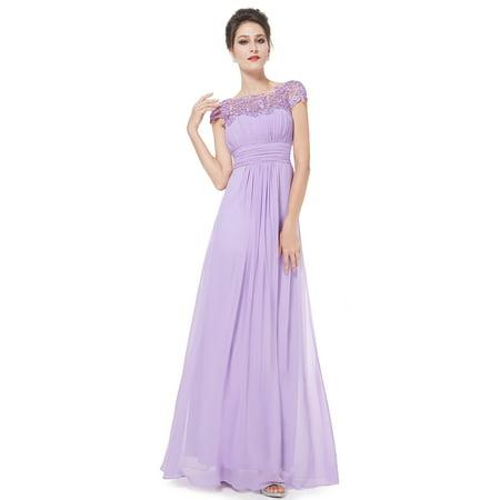 f3553b2bdd Ever-Pretty Women s Elegant Long Lace Neckline Bridesmaid Dresses for  Summer Wedding 09993 (Lavender 14 US)
