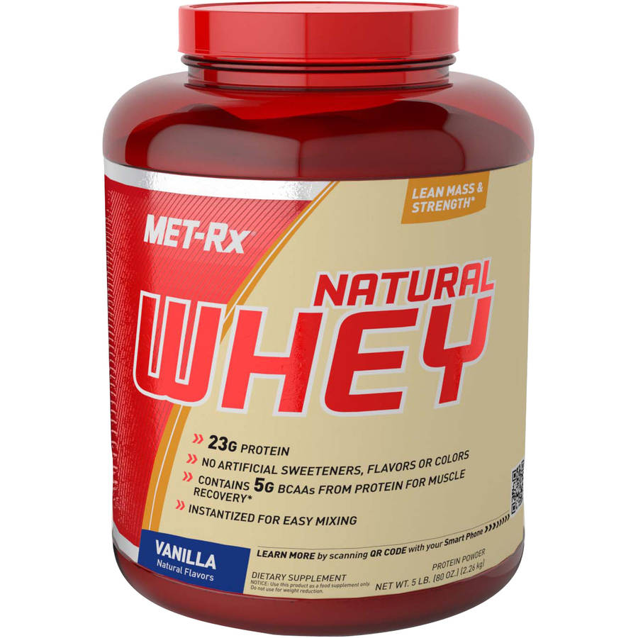 MET-Rx Vanilla Natural Whey Protein Powder Dietary Supplement, 80 oz
