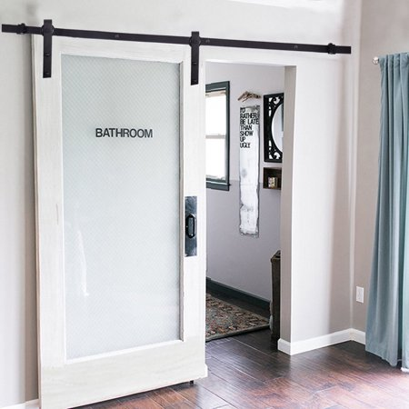 - 6FT Black Sliding Barn Wood Door Hardware Track Kit Closet Set Basic J Style