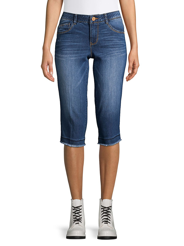 Frayed Hem Denim Skimmer Jeans
