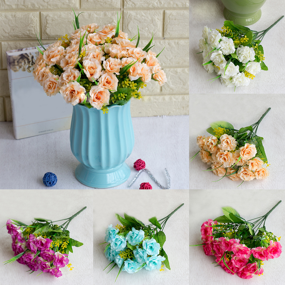 Heepo 1 Bouquet Charming Romantic Fake Roses Artificial Flower Wedding Home Decoration