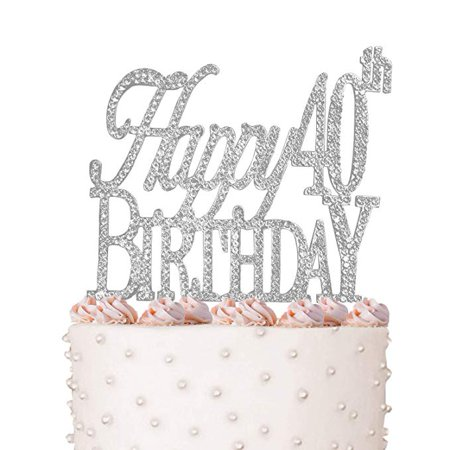 Happy 40th Birthday Cake Topper Crystal Rhinestones On Silver Metal Party Decorations Favors
