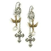 Sweet Romance  Bird and Cross Crystal Vintage Earrings