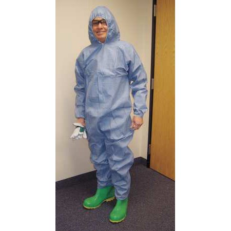 INTERNATIONAL ENVIROGUARD 9015-XL Flame-Resistant Coverall w/Hood, Xl, Blue,