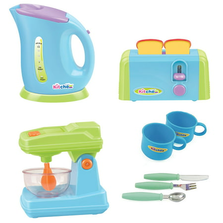 Gourmet Kitchen Appliances Toy Pretend Play Set for Kids with Mixer, Toaster, Kettle and Accessories Kitchen Appliances Toy for kids - Mixer, Toaster, Kettle, Cups & Utensils Set PS414
