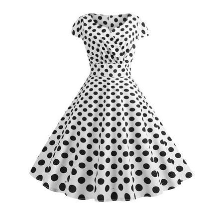 b6c96bd37603 SDSINC - Womens Polka Dot Vintage 1950s Rockabilly Hepburn Prom Evening  Party Swing Dress - Walmart.com