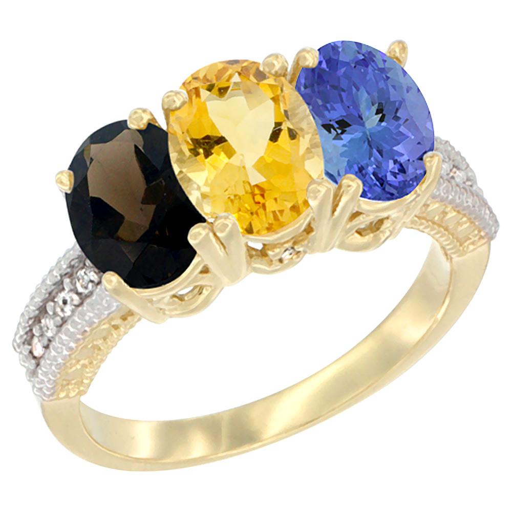 10K Yellow Gold Diamond Natural Smoky Topaz, Citrine & Tanzanite Ring 3-Stone 7x5 mm Oval, sizes 5 10 by WorldJewels