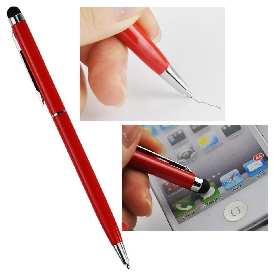 Stylus Pen [10 pcs, Red], 2-in-1 Universal Touch Screen Stylus + Ballpoint Pen For Smartphones Tablets iPad iPhone Samsung etc