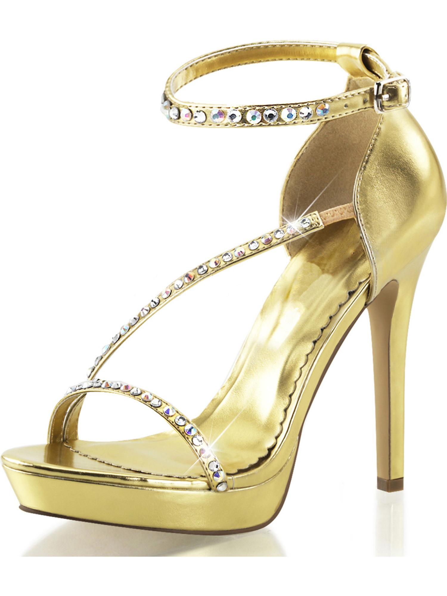 womens gold sparkly heels platform sandals rhinestone shoes 4 3/4 inch heels