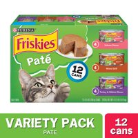 (12 Pack) Friskies Pate Wet Cat Food Variety Pack, Salmon, Turkey & Grilled, 5.5 oz. Cans