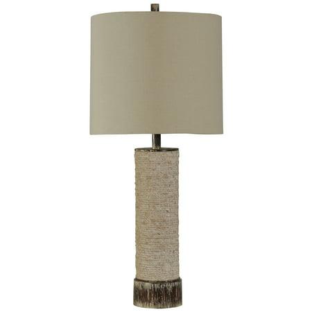 Palm Buffet Table Lamp - Palm Bay Table Lamp - Beige Finish - White Hardback Fabric Shade