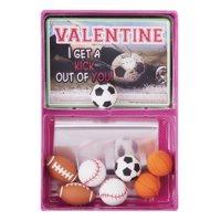 Way To Celebrate Valentine's Day Sport Eraser Cards, 8 Count
