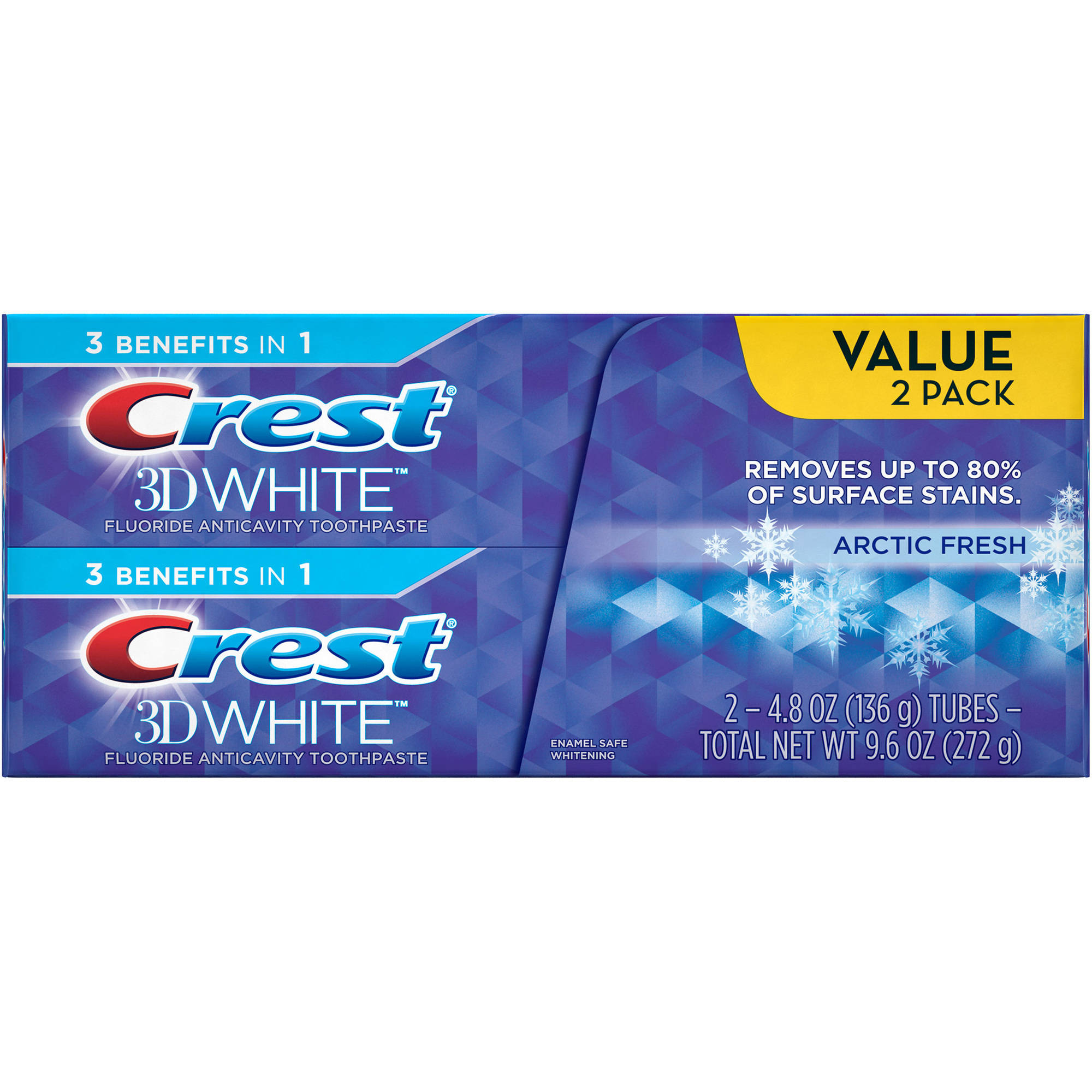 Crest 3D White Arctic Fresh Whitening Toothpaste, 4.8 oz, (Pack of 2)