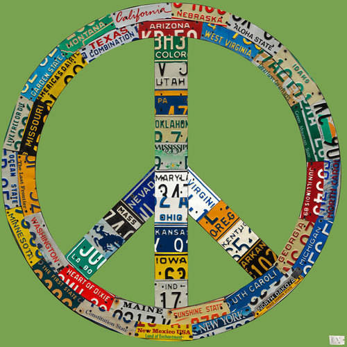 Oopsy Daisy - License Plate Peace - Green Canvas Wall Art 39x39, Aaron Foster