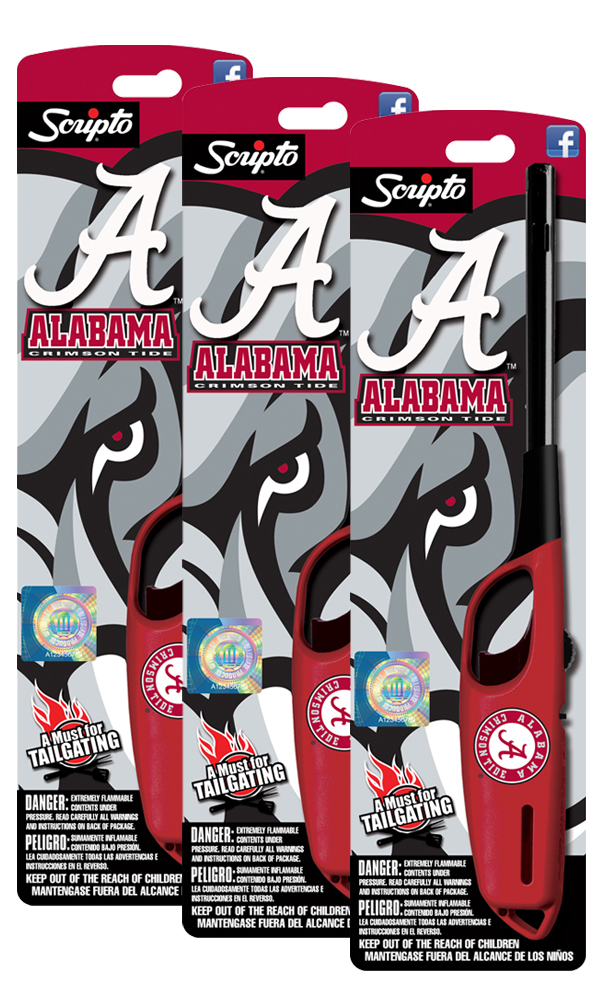 NCAA Alabama Crimson Tide Licensed Scripto Multipurpose Utility Lighter Official Crimson & White Tailgating Essential... by