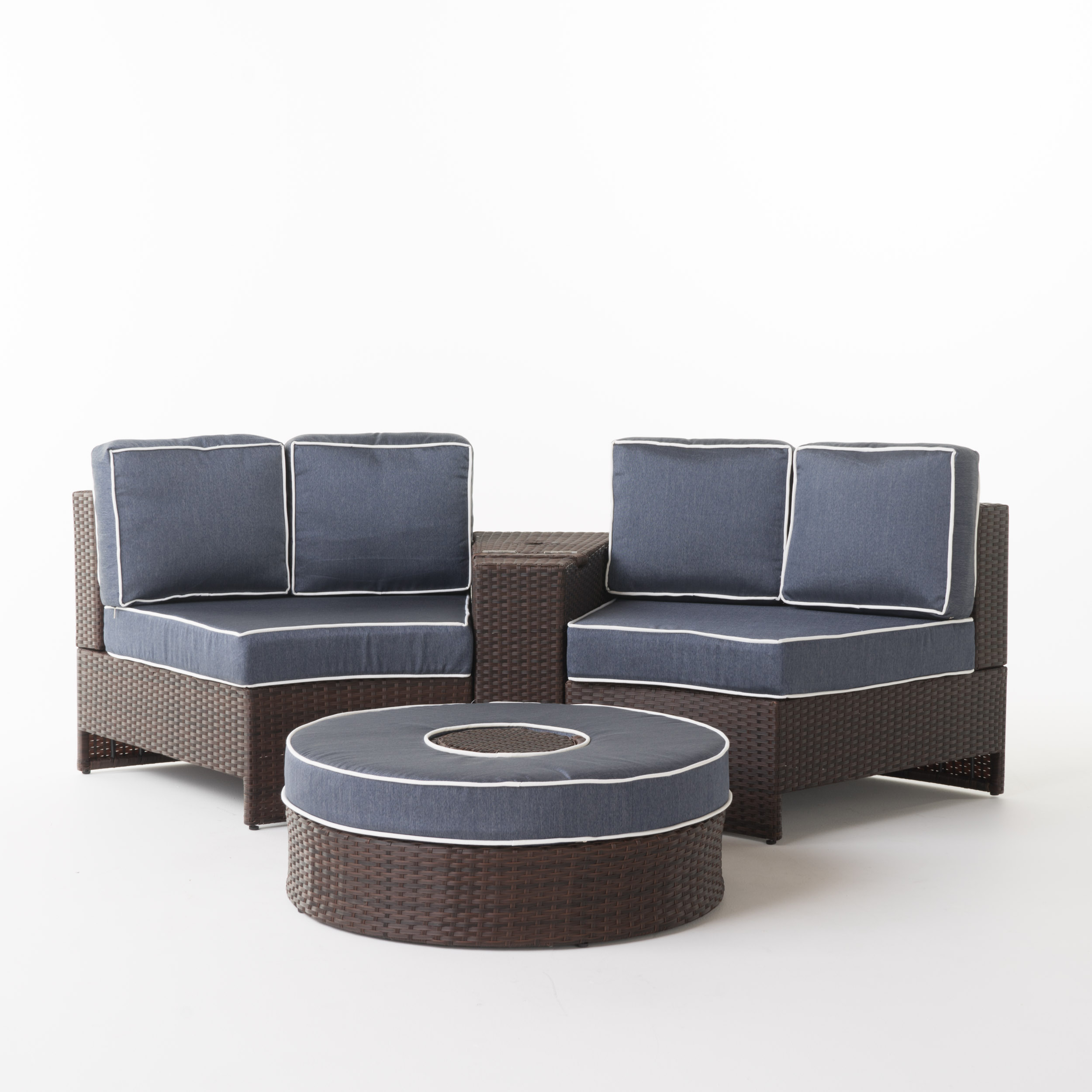 Riviera Positano Wicker 4 Piece Semicircular Sectional Sofa Seating Set with Cushions with Ice Bucket Ottoman, Navy