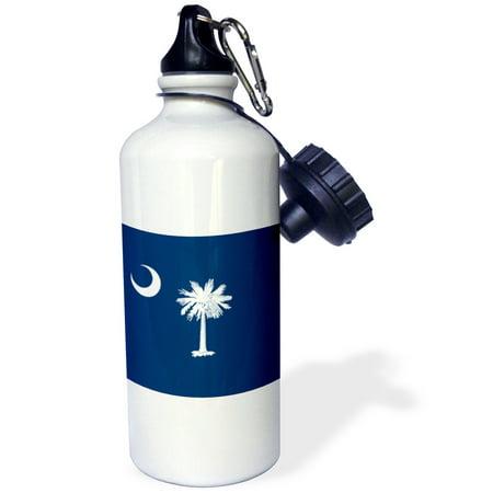 3Drose Flag Of South Carolina Sc   Us American United State Of America Usa White Palmetto Tree Indigo Blue  Sports Water Bottle  21Oz