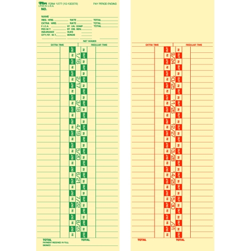 """Tops 1277 Semi-monthly Time Card - 500 Sheet[s] - 10.50"""" X 3.50"""" Sheet Size - 500 / Box (1277_40)"""