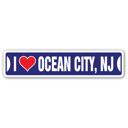 I Love Ocean City Nj Street [3 Pack] of Vinyl Decal Stickers | Indoor/Outdoor | Funny decoration for Laptop, Car, Garage , Bedroom, Offices | SignMission](Party City In Wayne Nj)