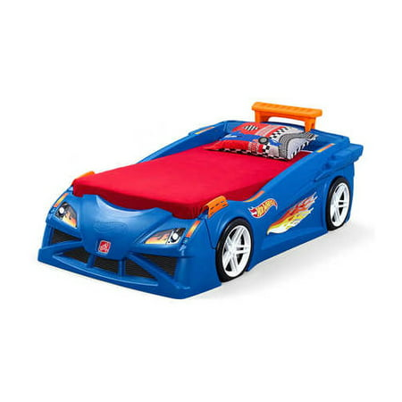 Step2 Hot Wheels Convertible Toddler-to-Twin Bed, Blue (Step 2 Car Bed)