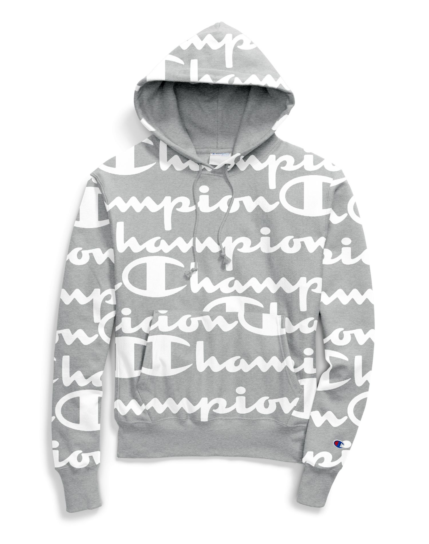 Champion LIFE Men/'s Reverse Weave Pullover All Over Print Oxford Gray Hoodie