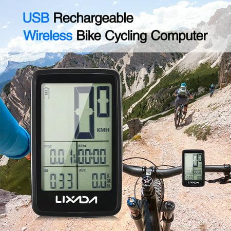 Lixada USB Rechargeable Wireless Bike Cycling Computer Bicycle Speedometer