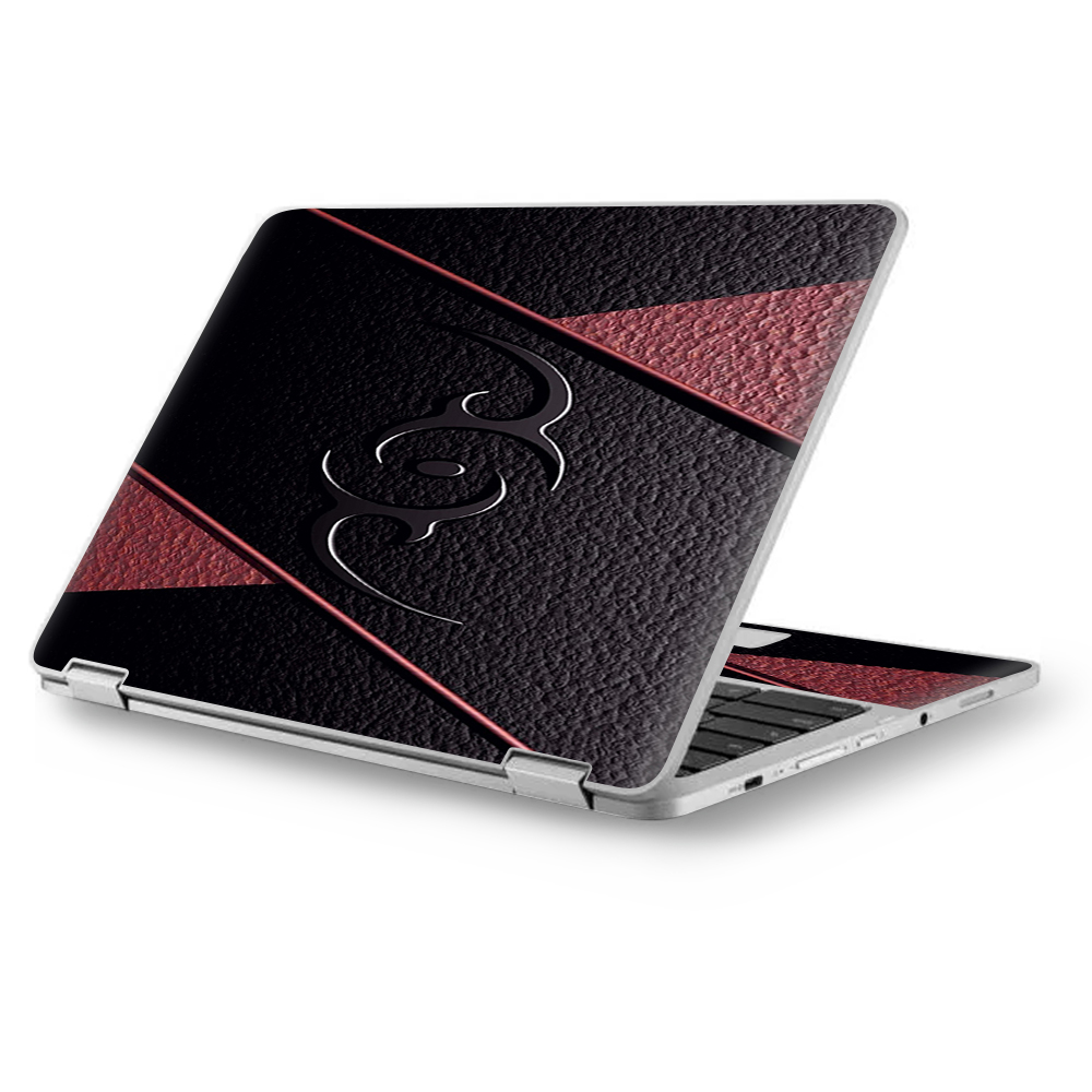 """Skin Decal for MacBook Air 11"""" A1370 A1465 / Black Red Leather Hindu Om like Symbol"""