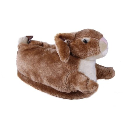 Happy Feet Mens and Womens Bunny Animal Slippers - Brown or White