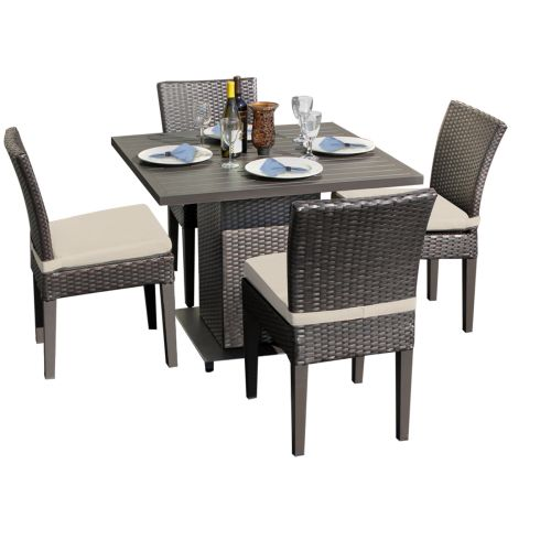 TK Classics Napa Wicker 5 Piece Square Patio Dining Set with 8 Cushion Covers