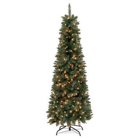 Best Choice Products 6.5ft Pre-Lit Hinged Fir Artificial Pencil Christmas Tree w/ 250 Clear Lights, 719 Tips, Foldable Stand -