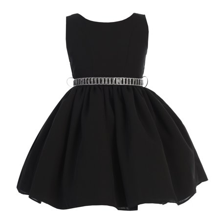 Ellie Kids Girls Black Dobby Wool Rhinestone Junior Bridesmaid Dress