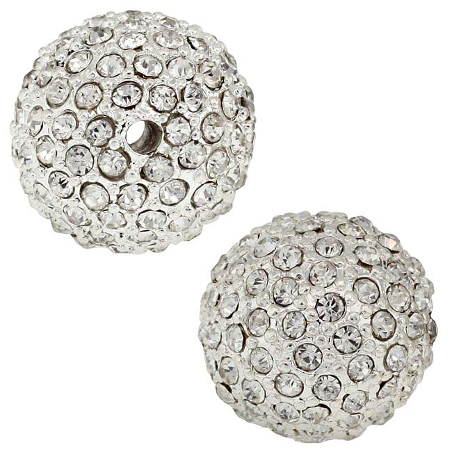 Beadelle Crystal 14mm Round Pave Bead - Silver Plated / Crystal (1 Piece)