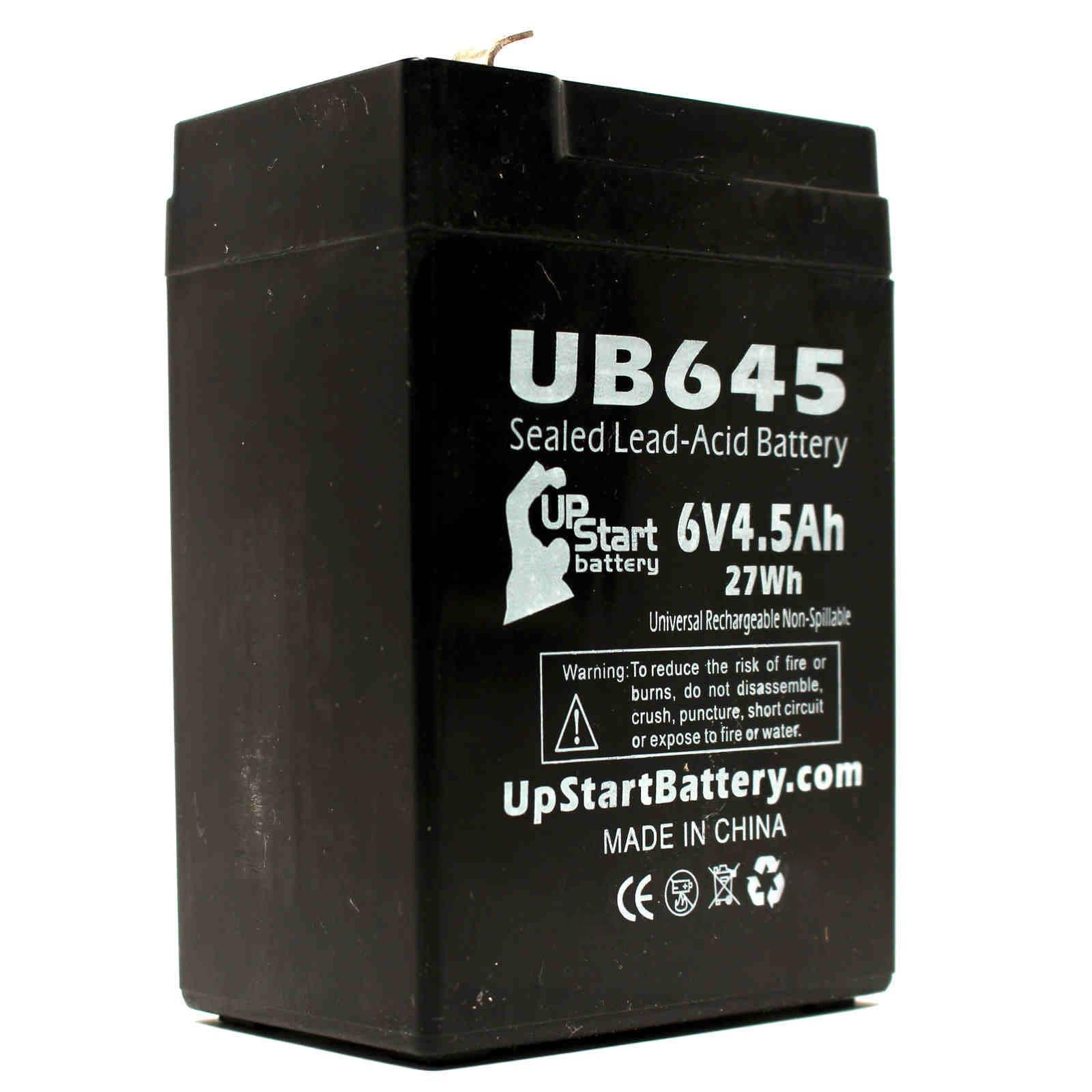 Zeus PC4.5-6F1 Battery Replacement - UB645 Universal Sealed Lead Acid Battery (6V, 4.5Ah, 4500mAh, F1 Terminal, AGM, SLA) - Includes TWO F1 to F2 Terminal Adapters - image 2 de 4