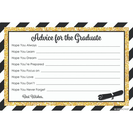 Cheap Graduation Party Ideas (Graduation Advice for Grad | 25 Cards | Party Games Supplies | Black and)