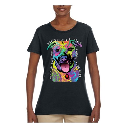Don't Judge My Pitbull I Won't Judge Your Kids Funny   Womens Dog Lover Graphic T-Shirt, Black, Small