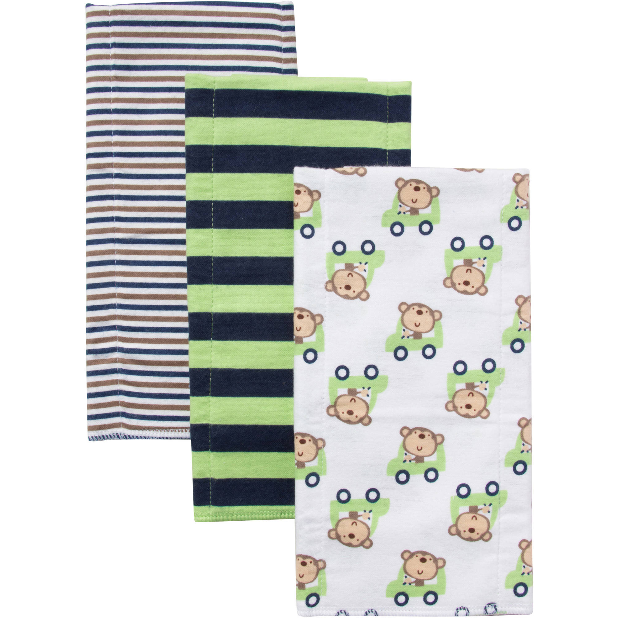 Gerber Newborn Baby Girl Flannel Burp Cloths, 3-pack