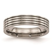 Chisel Titanium Polished Grooved 5mm Comfort Fit Wedding Ring Band Size 11.5