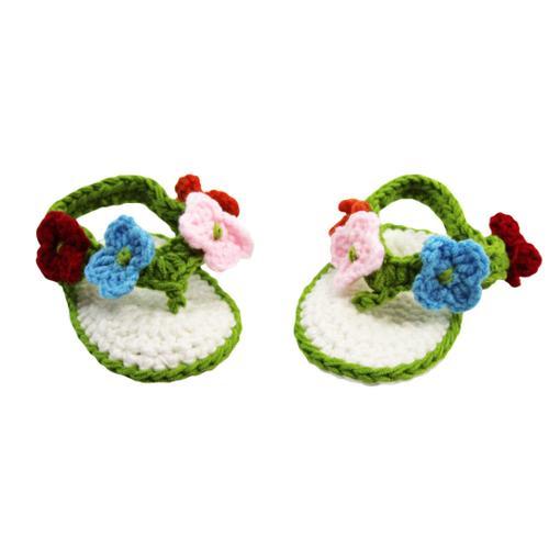 Baby Girls Multi Color Floral Crochet Sandals 0-12M