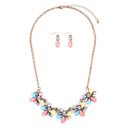 ACRYLIC FLOWER STATEMENT NECKLACE AND EARRING SET