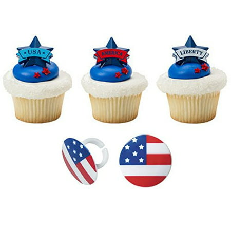 4th of July Banner and Flag Cupcake Topper Rings- 24 count