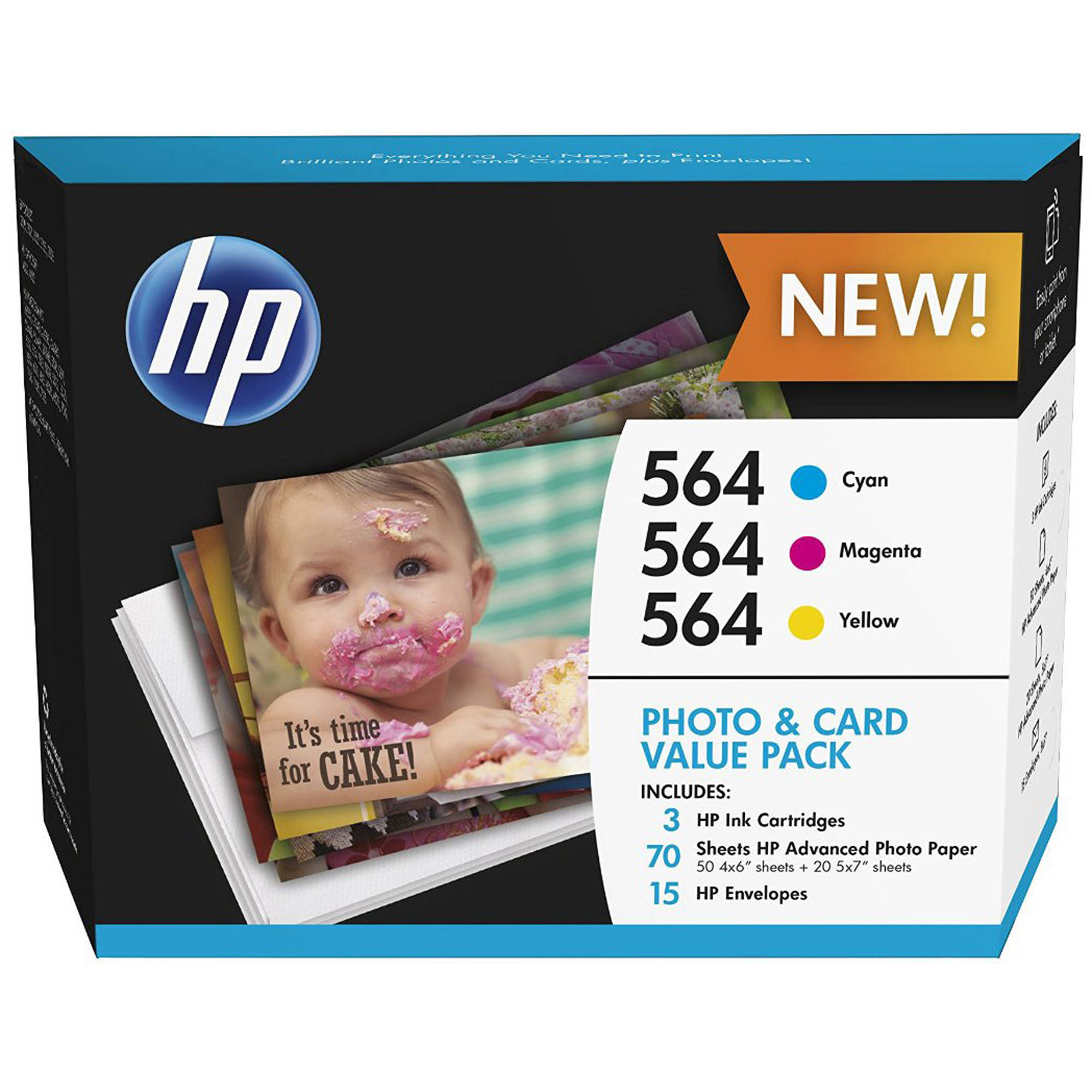 HP 564 Cyan/Magenta/Yellow Ink Cartridges with Photo Paper and Cards, 3-Pack (J2X80AN)