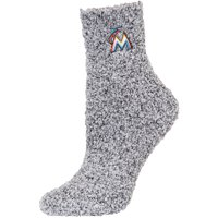 Miami Marlins Women's Fuzzy Block Tri-Blend Socks - Black - M