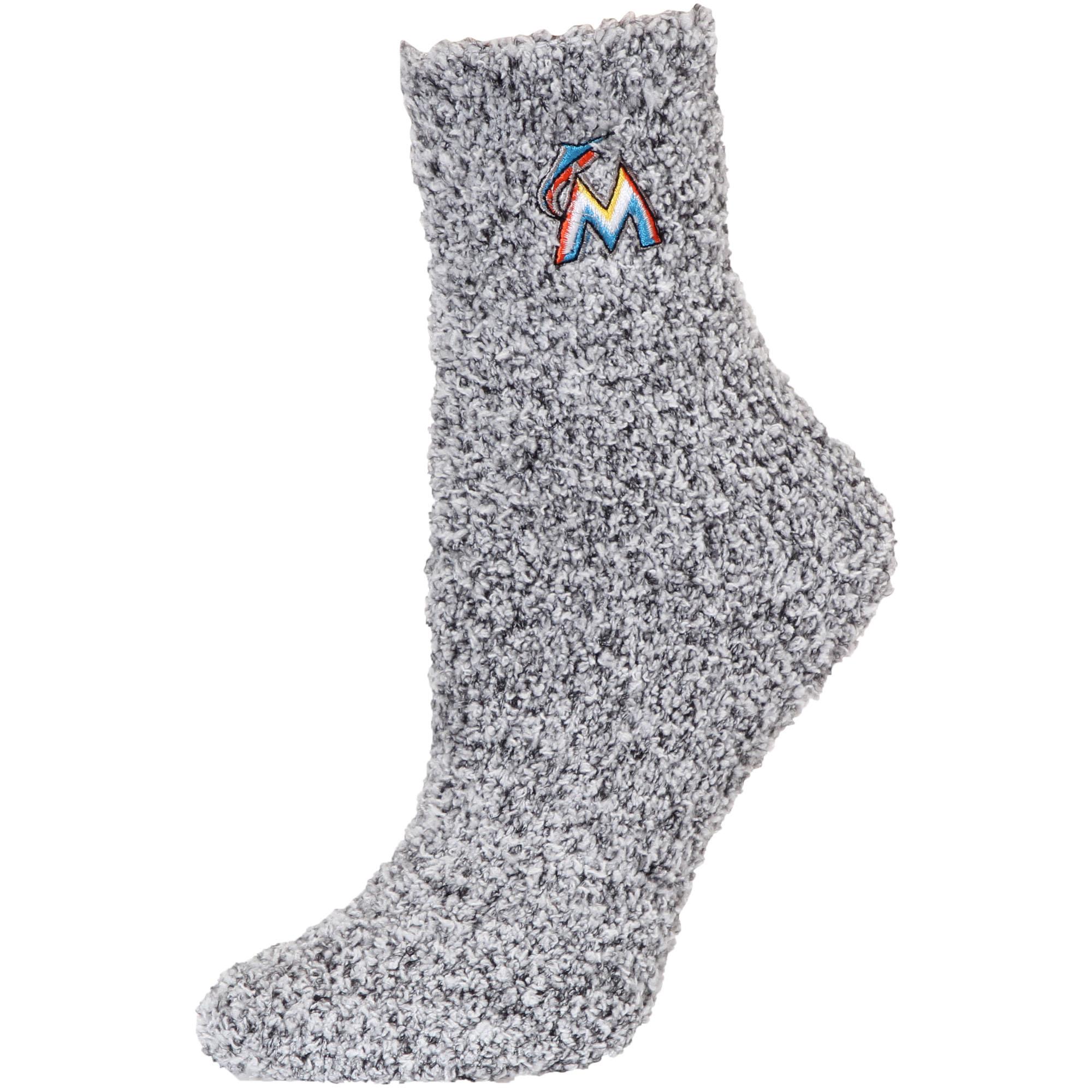 Miami Marlins Women's Fuzzy Block Tri-Blend Socks - Black - M