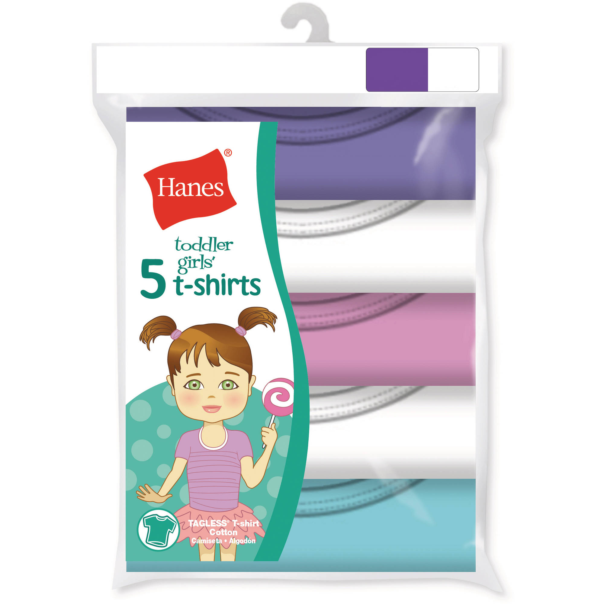 Hanes Toddler Girl Cotton Crew T-shirts, 5 Pack